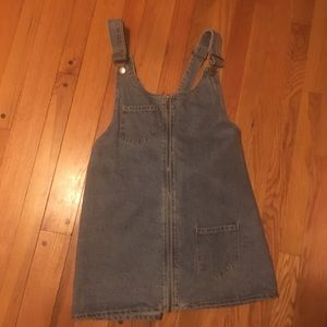 Forever 21 denim overall zip up dress